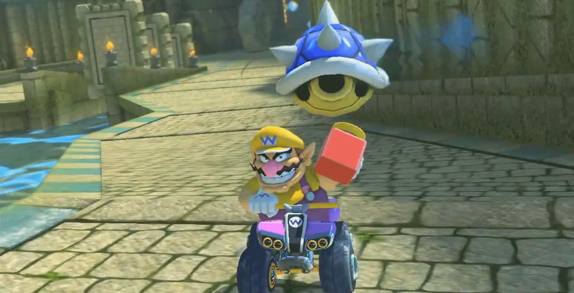 Blauw Schild in Mario Kart